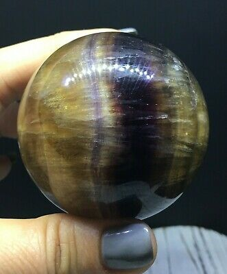 61mm Yellow and Purple Banded Fluorite Sphere