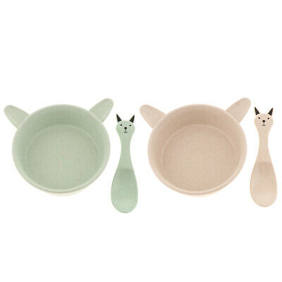 2Pcs Soup Bowl Spoon Reusable Tableware Snack Container Children Cutlery