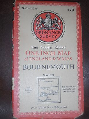 "Ordnance Survey New Popular Edition 1"" map Bournemouth Sheet 179 (cloth) 1947"