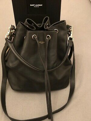 44ab89337ed1 Saint Laurent Ladies Emmanuelle Leather Bucket Bag Black Large RRP £1495