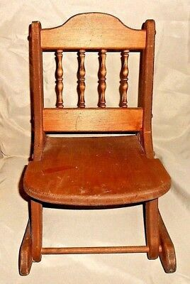 "Vintage Doll/Bear Wood Rocking Chair Armless Folding Chair Large 18"" Tall"