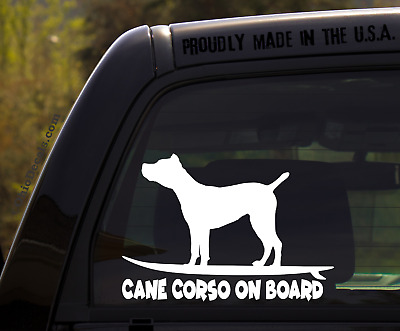 Cane Corso on Board - Funny Dog Breed Decal Sticker for car or Truck Window