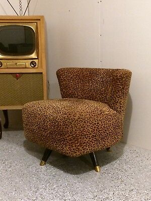 Vintage 1950s Mid-Century Modern Eames Accent Swivel Chair Leopard Fabric Tiki