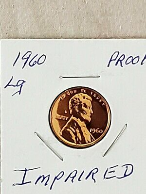 1960-P  Lincoln Memorial Large Proof Cent From Proof Roll ( Imparied ) In 2X2