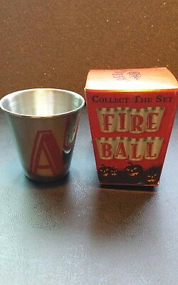 """One NIB 2017 Letter """"A"""" Fireball Whiskey Stainless Steel Shot Glass. Great!!"""