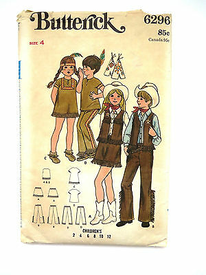 1960s Size 4 Childrens Cowboy Costume Pattern Butterick 6296 Halloween Costume