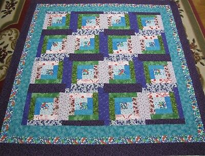 "Log Cabin Patchwork Large Quilt Top~PIECED~""Multi-Colored"" Baby,Wall,Lap  60""Sq"