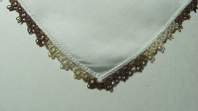 """Vintage Variegated Brown White Tatted Lace Irish Linen Hankie 12"""" T15"""