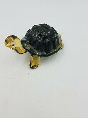 Art Handmade Glass Walking Turtle Tortoise Figurine Ornament Green Brown Texturd