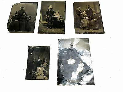 Antique Mixed Lot Of 5 Old Vintage Tin Type Photos Family Portraits