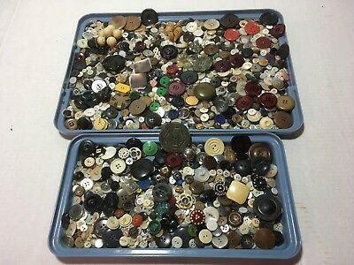 Lot Antique VTG Buttons MIXED UNSORTED 2 pounds CRAFT USE DECOR SOME MATCHES