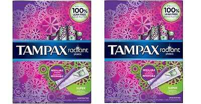 (2) Tampax Radiant Super Tampons w Plastic Applicator 16ct Unscented Free Ship