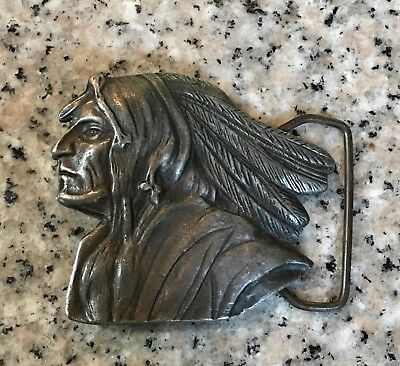 Vintage Pewter Indian Chief Face Head Warrior Native American Belt Buckle