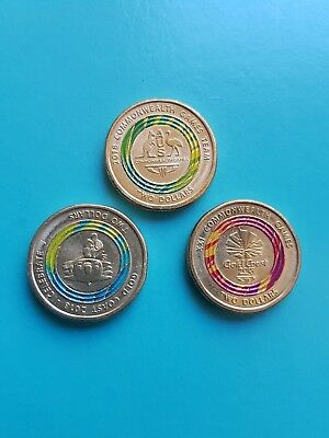 Set of 3 Australian $2 Coins (Commonwealth Games 2018)