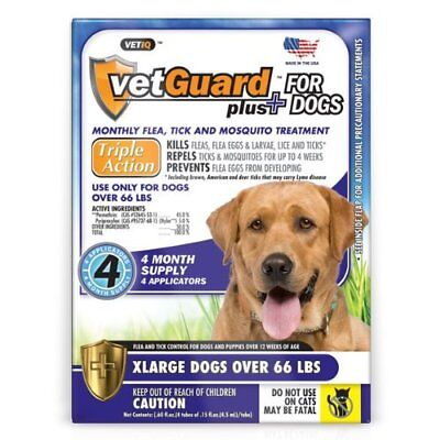 Vetguard Plus 4 Month Flea and Tick Control for X-Large Dogs 66 lbs and over