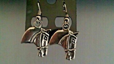 "Antique Silver ""western Horse Head"" Dangle Earrings"