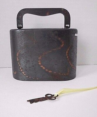 Vintage C. O. BURNS CO. NY Copper Coin Bank WITH KEY Model 116206 Pat'd 776702
