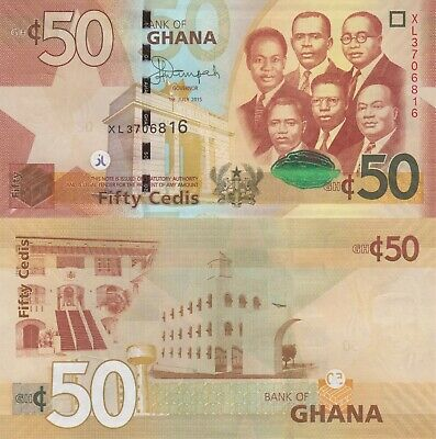 Ghana 50 Cedis (01.7.2015) - Big Six/Gov't Buildings/p42c UNC
