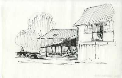 Sydney Vale FRSA - Mid 20th Century Pen and Ink Drawing, Farm View