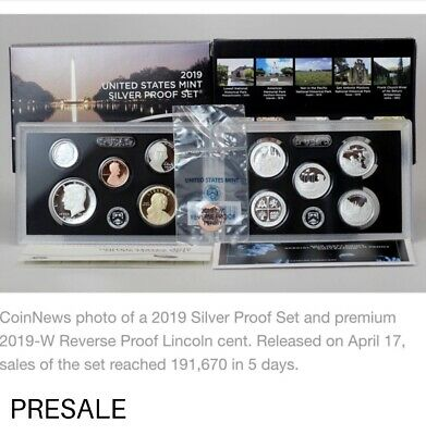2019 S SILVER PROOF SET Deep Cameo and 2019 W Reverse Proof ..Penny/ 11-COINS