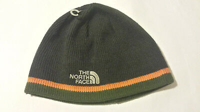 Gray NORTH FACE embroidered Cap with green & orange stripes Beanie Ski Skull Hat
