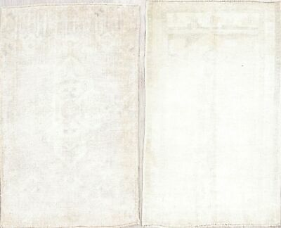 Set of 2 Antique MUTED Color Oushak TURKISH Hand-Knotted 2'x3' WOOL Ivory Rug