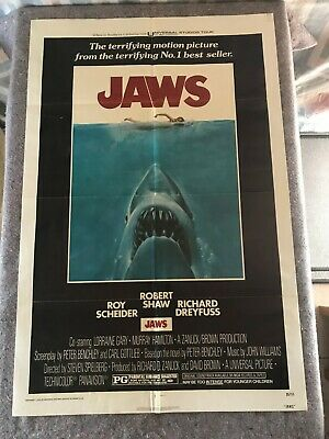 "JAWS 1975 ORIGINAL 1 SHEET MOVIE POSTER 27""x41"" (F-) DREYFUSS/SHAW/SCHEIDER"
