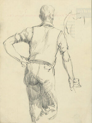 Peter Collins ARCA - c.1970s Graphite Drawing, Study of a Man