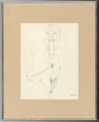 Peter Collins ARCA - Signed 1973 Graphite Drawing, Female Nude with Necklace