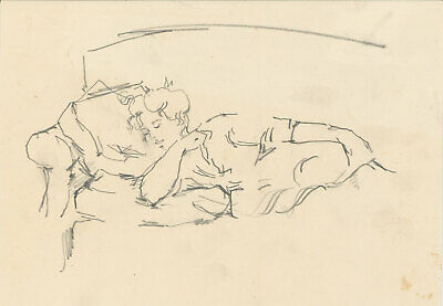 Peter Collins ARCA - c.1970s Graphite Drawing, Sleeping Figure