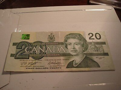 1991 - Canadian twenty dollar bill - $20 Canada note - AWZ8704359