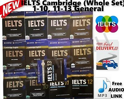 IELTS 1-10+ 11-13 General Whole Set Book Exam Cambridge + Answers & Audio Link