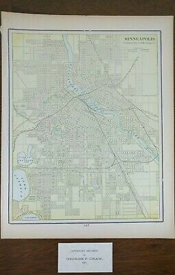 Vintage 1901 MINNEAPOLIS MINNESOTA City Map Old Antique Original Atlas Map