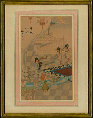 Oriental School 20th Century Watercolour - Geishas Playing Instruments