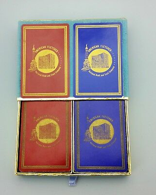 Vintage Congress Double Dual Deck Playing Cards American Fletch National Bank