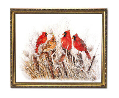 WHISPERING PINES CARDINALS by Terry Doughty 12x15 FRAMED PRINT Song Birds