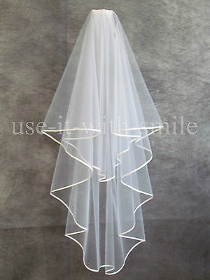 "Bridal Ivory 2 Tier Fingertip Wedding Veil 72"" With Satin Edge New Uk"