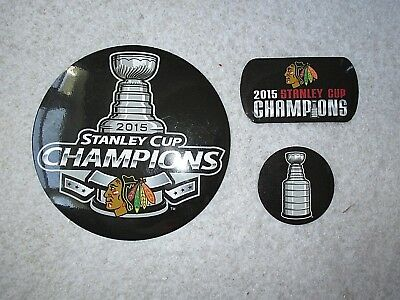 Chicago Blackhawks Magnets 2015 Stanley Cup Champions NHL Souvenirs Set of 3