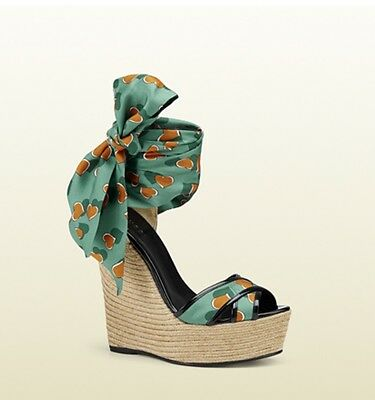 fbf77925fc4c GUCCI CAROLINA HEARTBEAT Espadrille Wedge Sandals Shoes 38 8 ...