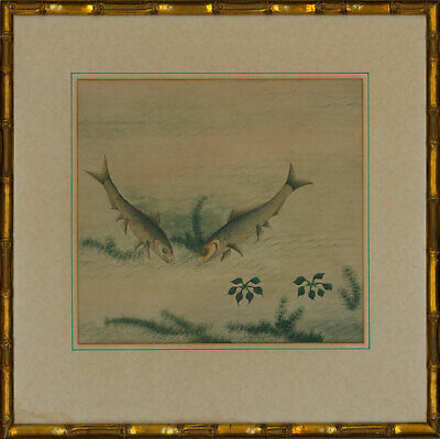 Early 20th Century Watercolour - Two Fish with Foliage
