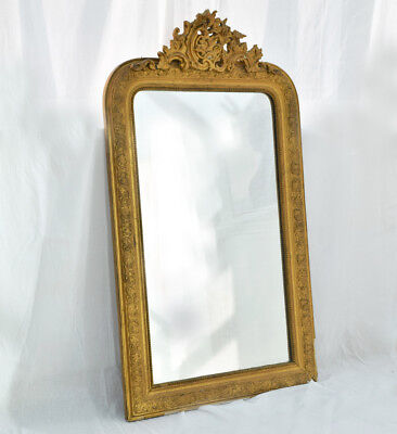 "Stunning Original Antique 19th Century French Gilt Mirror 48"" height Decorative"