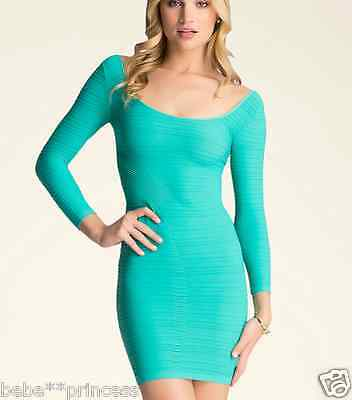 NWT bebe XXS XS S turquoise blue green stretchy sexy boatneck top dress bodycon