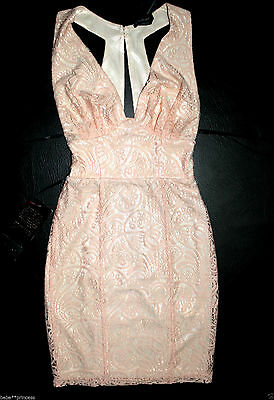$140 NWT bebe coral pink overlay lace deep v neck cutout top dress S Small 6