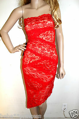 NWT bebe red ivory overlay lace strapless asym sexy cocktail top dress S small