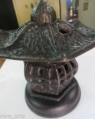 Vintage Pagoda Lantern Candle Holder heavy Cast Iron late replaced legs stand