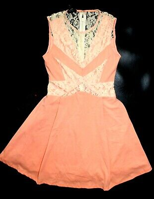 NWT bebe coral flare lace deep v neck side cutout flare top dress S M 6 party