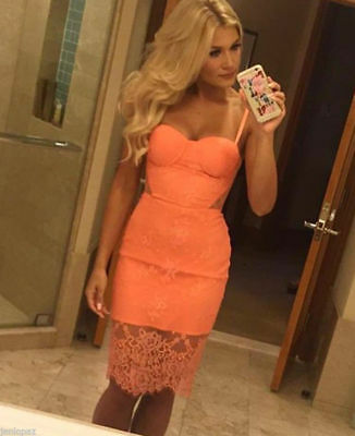 NWT bebe coral lace bustier cutout midi sexy floral top dress XS 0 club cocktail