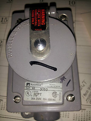 Russellstoll 3753 30A 250V 20A 600V Receptacle Lightly Used #B4