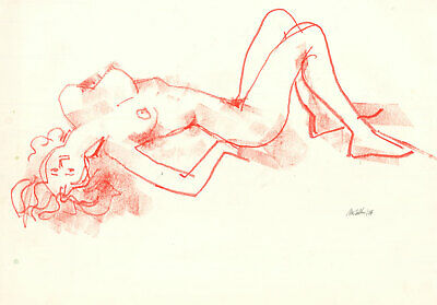 Peter Collins ARCA - Signed 1977 Pastel, Nude Study in Red