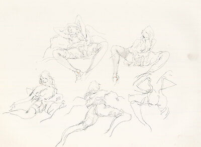 Peter Collins ARCA - c.1970s Graphite Drawing, Expressive Nude Studies
